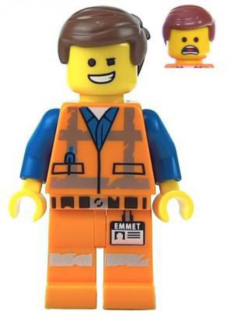 The LEGO Movie 2 Emmet Minifigure [Wink, Smile / Scared, Worn Uniform Loose]