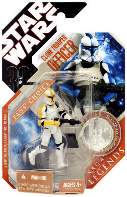 Star Wars Attack of the Clones 2007 Saga Legends (30th Anniversary) Clone Trooper Officer Action Figure #21 [Yellow Trim]