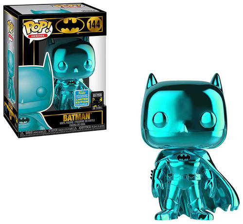 Funko DC Batman 80th POP! Heroes Batman Exclusive Vinyl Figure #144 [Teal Chrome, Damaged Package]