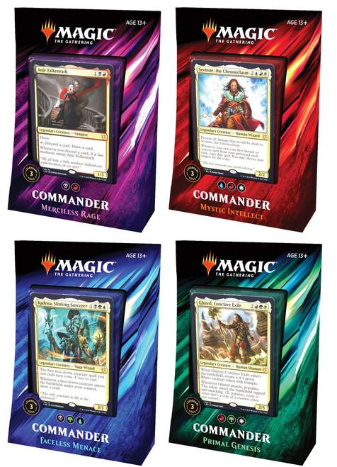 MtG Trading Card Game 2019 Commander Set of 4 Decks [Primal Genesis, Faceless Menace,Mystic Intellect, & Merciless Rage]