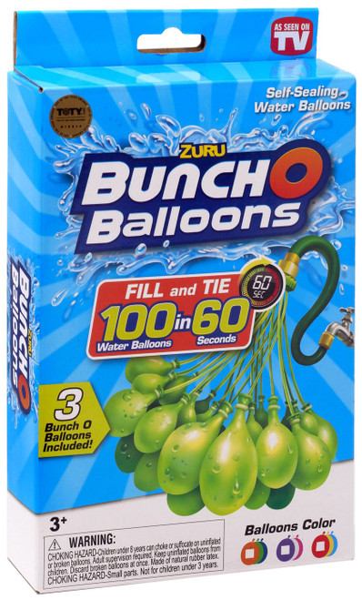 Bunch O Balloons Water Ballons Orange, Green & Blue 3-Pack