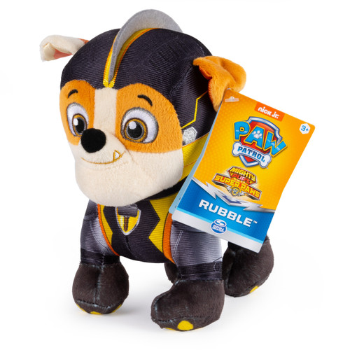 Paw Patrol Mighty Pups Super Paws Rubble 8-Inch Plush