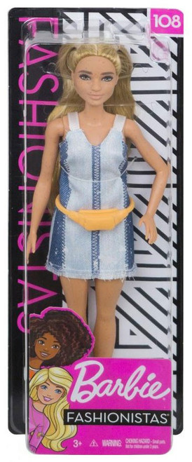Fashionistas Barbie 13.25-Inch Doll #108 [Partial Updo with Denim Dress, Damaged Package]