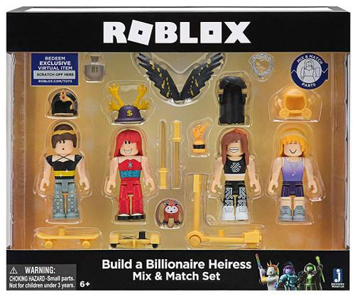 Roblox Mix & Match Build a Billionaire Heiress 3-Inch Figure 4-Pack Set