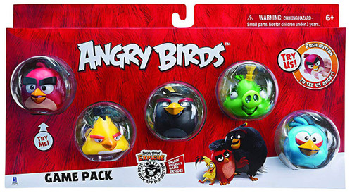 Angry Birds Game Pack Red, Bomb, Chuck, King & Blue Bird Figure 5-Pack