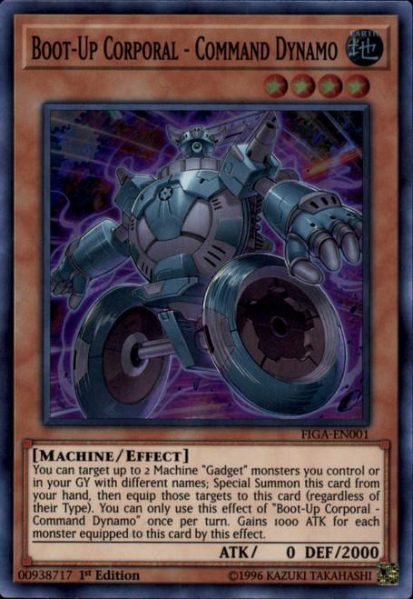 YuGiOh Fists of the Gadgets Super Rare Boot-Up Corporal - Command Dynamo FIGA-EN001