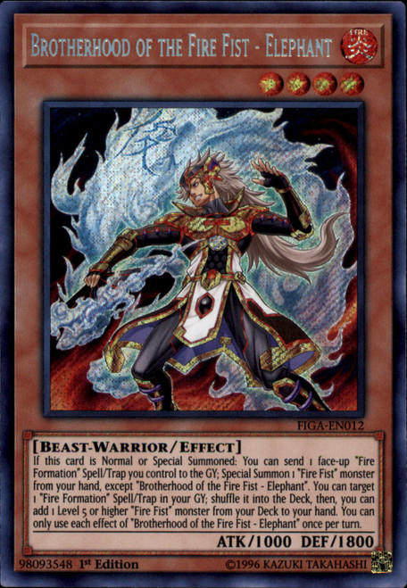 YuGiOh Fists of the Gadgets Secret Rare Brotherhood of the Fire Fist - Elephant FIGA-EN012