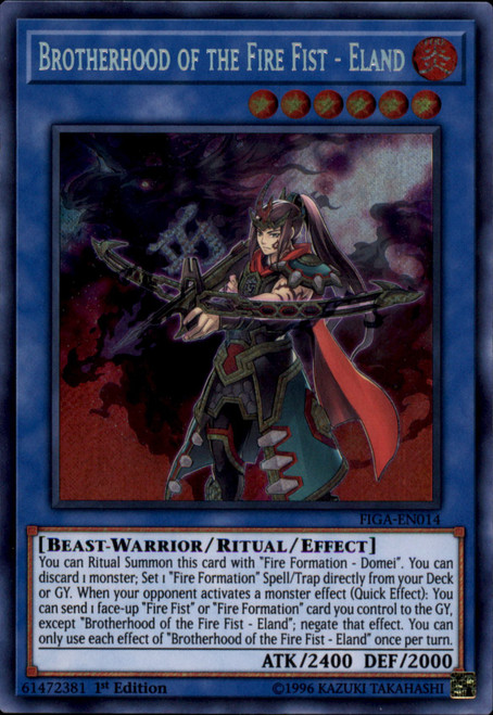 YuGiOh Fists of the Gadgets Secret Rare Brotherhood of the Fire Fist - Eland FIGA-EN014