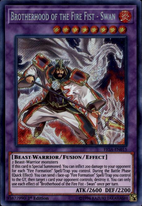 YuGiOh Fists of the Gadgets Secret Rare Brotherhood of the Fire Fist - Swan FIGA-EN015