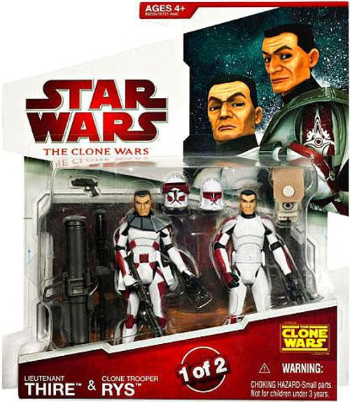 Star Wars The Clone Wars 2009 Lieutenant Thire & Clone Trooper Rys Action Figure 2-Pack