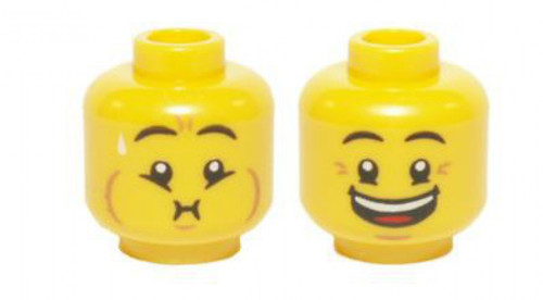 Crow's Feet, Open Mouth Smile / Queasy Expression with Sweat Minifigure Head [Dual Sided Loose]