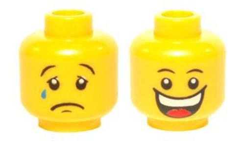 Huge Grin, White Pupils / Sad with Tear Minifigure Head [Dual Sided Loose]
