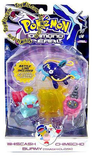 Pokemon Diamond & Pearl Series 7 Whiscash, Chimecho & Burmy [Trash Cloak] Figure 3-Pack