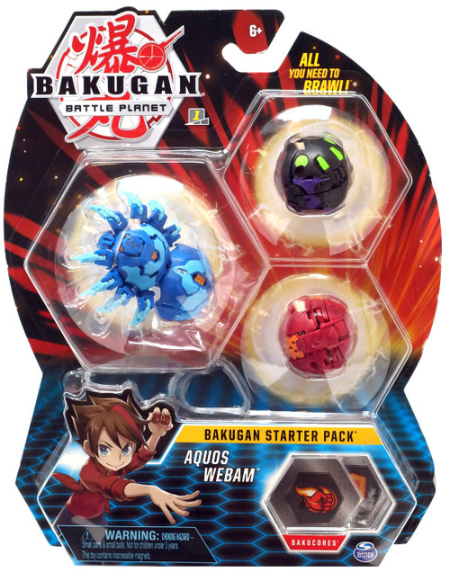 Bakugan Battle Planet Starter Pack Aquos Webam 3-Figure Set