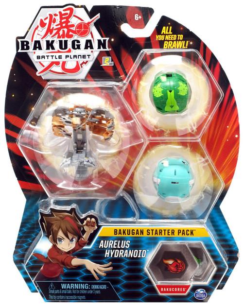 Bakugan Battle Planet Starter Pack Aurelus Hydranoid 3-Figure Set