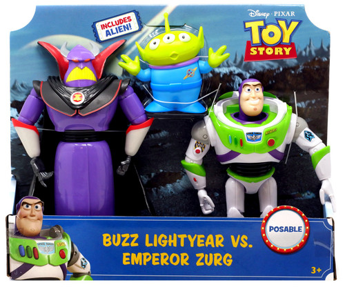 Toy Story 4 Buzz Lightyear vs. Emperor Zurg (with Alien) Posable Action Figure 3-Pack