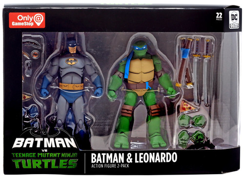 DC Teenage Mutant Ninja Turtles Batman vs TMNT Batman & Leonardo Exclusive Action Figure 2-Pack
