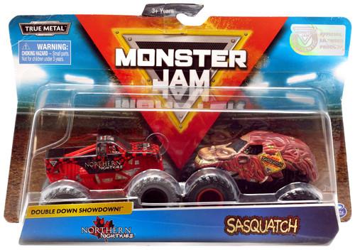 Monster Jam Double Down Showdown! Northern Nightmare & Sasquatch Diecast Car 2-Pack