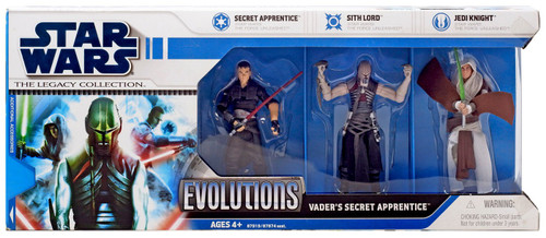 Star Wars The Force Unleashed 2008 Legacy Collection Evolutions Vader's Secret Apprentice Action Figure 3-Pack [Secret Apprentice, Sith Lord & Jedi Knight, White Packaging]