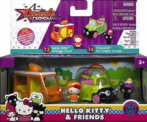 Dazzle Dash Hello Kitty Orange Truck & Chococat Ice Cream Coupe Diecast Vehicle 2-Pack