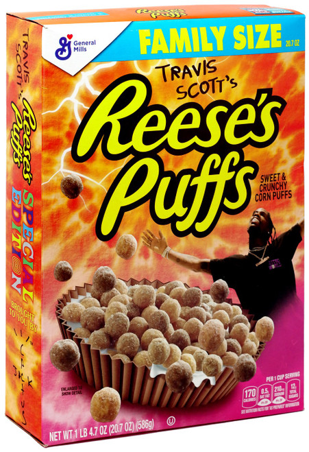 Travis Scott's Reese's Puffs Breakfast Cereal [EXPIRED, NOT TO BE EATEN, Family Sized]