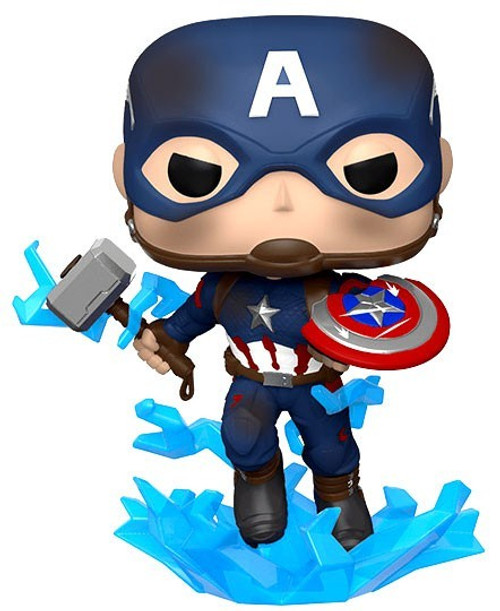 Funko Avengers Endgame POP! Marvel Captain America Vinyl Bobble Head [Broken Shield & Mjolnir]