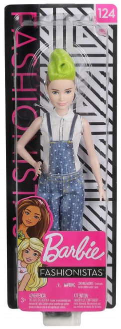 Fashionistas Barbie 13.25-Inch Doll #124 [Overalls, Green Hair]