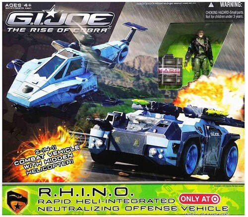 GI Joe The Rise of Cobra R.H.I.N.O. Rapid Heli-Integrated Neutralizing Offensive Vehicle Action Figure Vehicle [Missing Instructions & Decals]