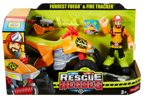 Fisher Price Rescue Heroes Forrest Fuego & Fire Tracker Vehicle & Action Figure