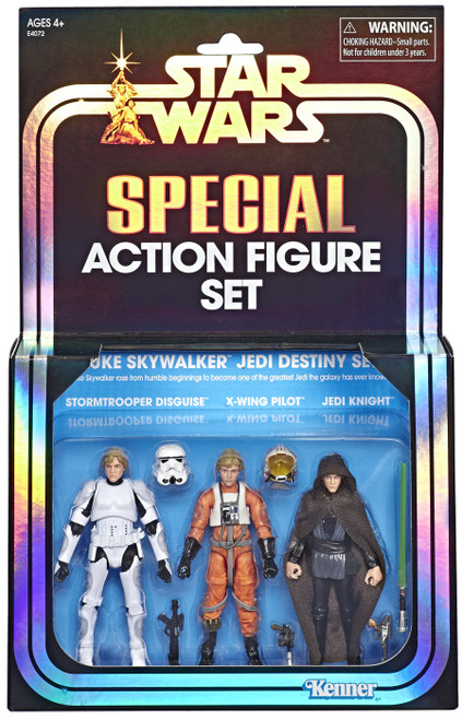 Star Wars Vintage Special Stormtrooper Disguise, X-Wing Pilot & Jedi Knight Exclusive Action Figure 3-Pack [Luke Skywalker Jedi Destiny Set]