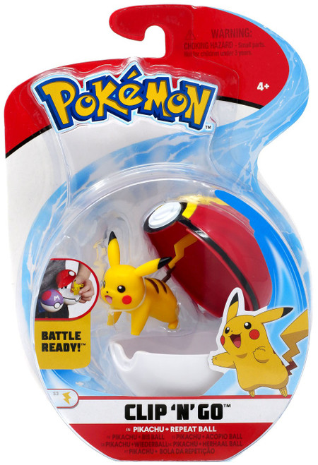 Pokemon Clip 'N' Go Pikachu & Repeat Ball Figure Set [Standing On All Fours, Damaged Package]
