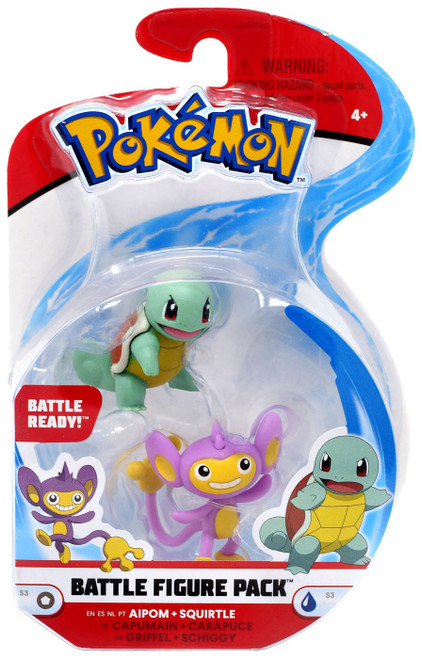 Pokemon Series 3 Battle Figure Aipom & Squirtle 2-Inch Mini Figure 2-Pack [Damaged Package]