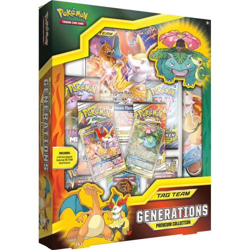 Pokemon Trading Card Game Tag Team Generations Charizard & Braixen-GX, Venusaur & Snivy-GX Premium Collection [7 Booster Packs, 2 Promo Cards, Oversize Card, Playmat & Coin!]