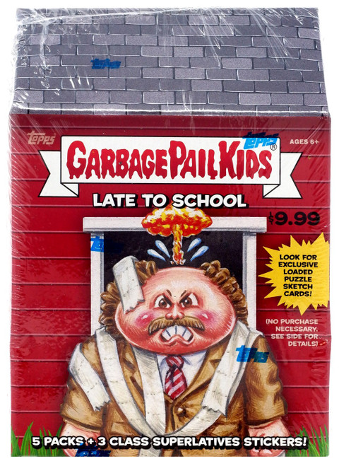 Garbage Pail Kids Topps 2020 Series 1 Late To School Trading Card Sticker BLASTER Box [5 Packs + 3 Class Superlative Stickers]