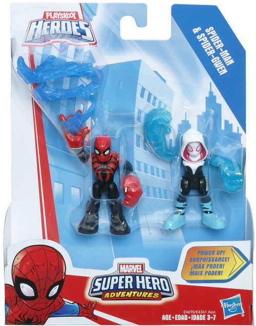 Marvel Playskool Heroes Super Hero Adventures Spider-Man & Spider Gwen Action Figure 2-Pack [Power Up!]