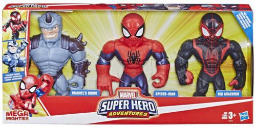 "Playskool Heroes Super Hero Adventures Mega Mighties Spider-Man, Kid Arachnid, & Marvel""s Rhino Action Figure 3-Pack [Web Warriors]"