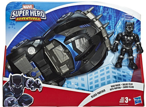 Marvel Playskool Heroes Super Hero Adventures Black Panther Road Racer Action Figure & Vehicle