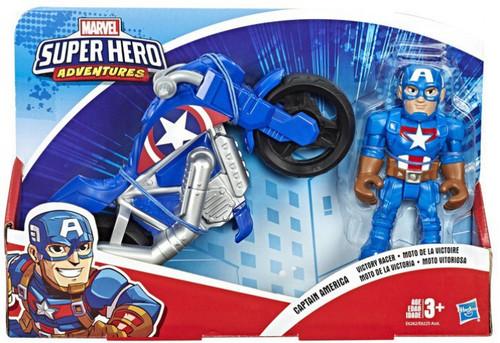 Marvel Playskool Heroes Super Hero Adventures Captain America Victory Racer Action Figure Set