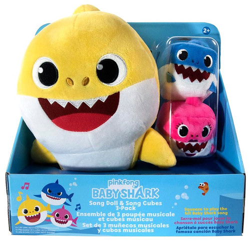 Pinkfong Baby Shark Song Doll & Song Cubes Exclusive Plush 3-Pack Set