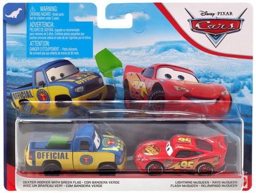 Disney / Pixar Cars Cars 3 Dinoco 400 Dexter Hoover with Green Flag & Lightning McQueen Diecast 2-Pack [Version 2]