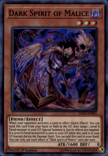 YuGiOh Legendary Duelists: Immortal Destiny Super Rare Dark Spirit of Malice LED5-EN003