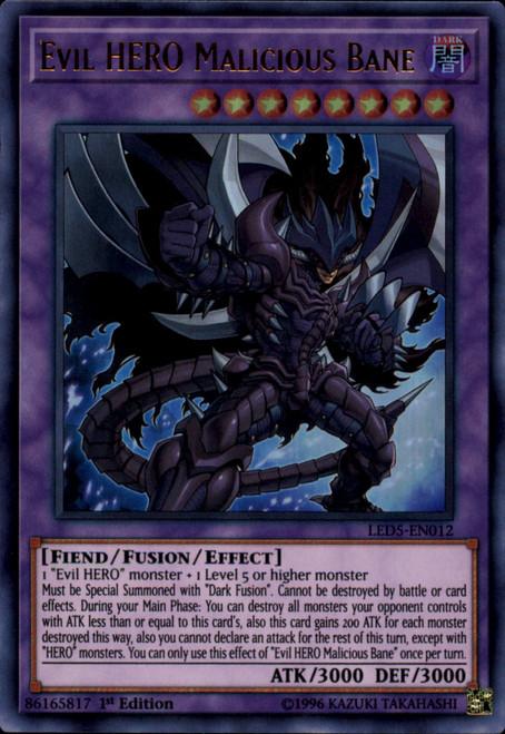 YuGiOh Legendary Duelists: Immortal Destiny Ultra Rare Evil HERO Malicious Bane LED5-EN012