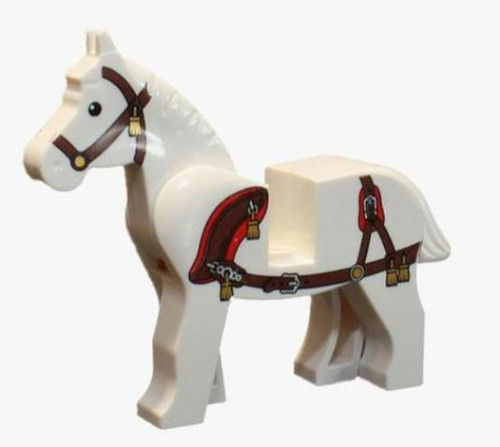 LEGO Horse with Dark Brown Bridle and Reddish Brown Harness with Gold Tassels [Loose]