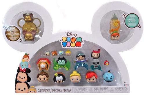 Disney Tsum Tsum Mickey, Minnie, Pluto, Maleficent, Jasmine, Captain Hook, Belle, Goofy, Cinderella, Ariel , Genie & Peter Pan 1-Inch Minifigure 17-Pack [Damaged Package]