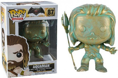 Funko DC Batman v Superman: Dawn of Justice POP! Movies Aquaman Exclusive Vinyl Figure #87 [Patina Version, Damaged Package]