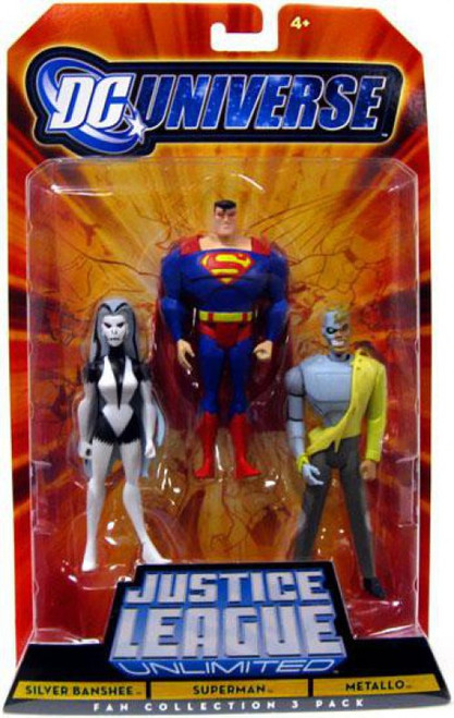 DC Universe Justice League Unlimited Silver Banshee, Superman & Metallo Action Figures [Damaged Package]