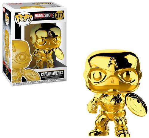 Funko Marvel Studios 10 POP! Marvel Captain America Vinyl Bobble Head #377 [Gold Chrome, Damaged Package]