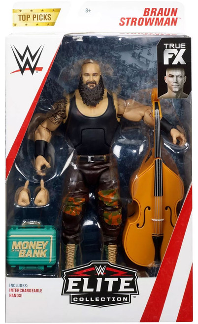 WWE Wrestling Elite Top Picks 2019 Braun Strowman Action Figure [Interchangeable Hands, Money in the Bank Briefcase & Bass Guitar]