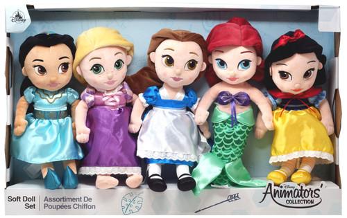 Disney Princess Animators' Collection Ariel, Rapunzel, Belle, Jasmine & Snow White Exclusive 12-Inch Soft Doll Plush 5-Pack