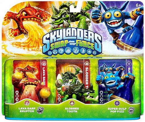 Skylanders Swap Force Lava Barf Eruptor, Slobber Tooth & Super Gulp Pop Fizz Figure 3-Pack [Loose]